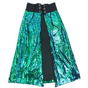 IHeartRaves Sequin Open Front Rave Skirt Tie Up L